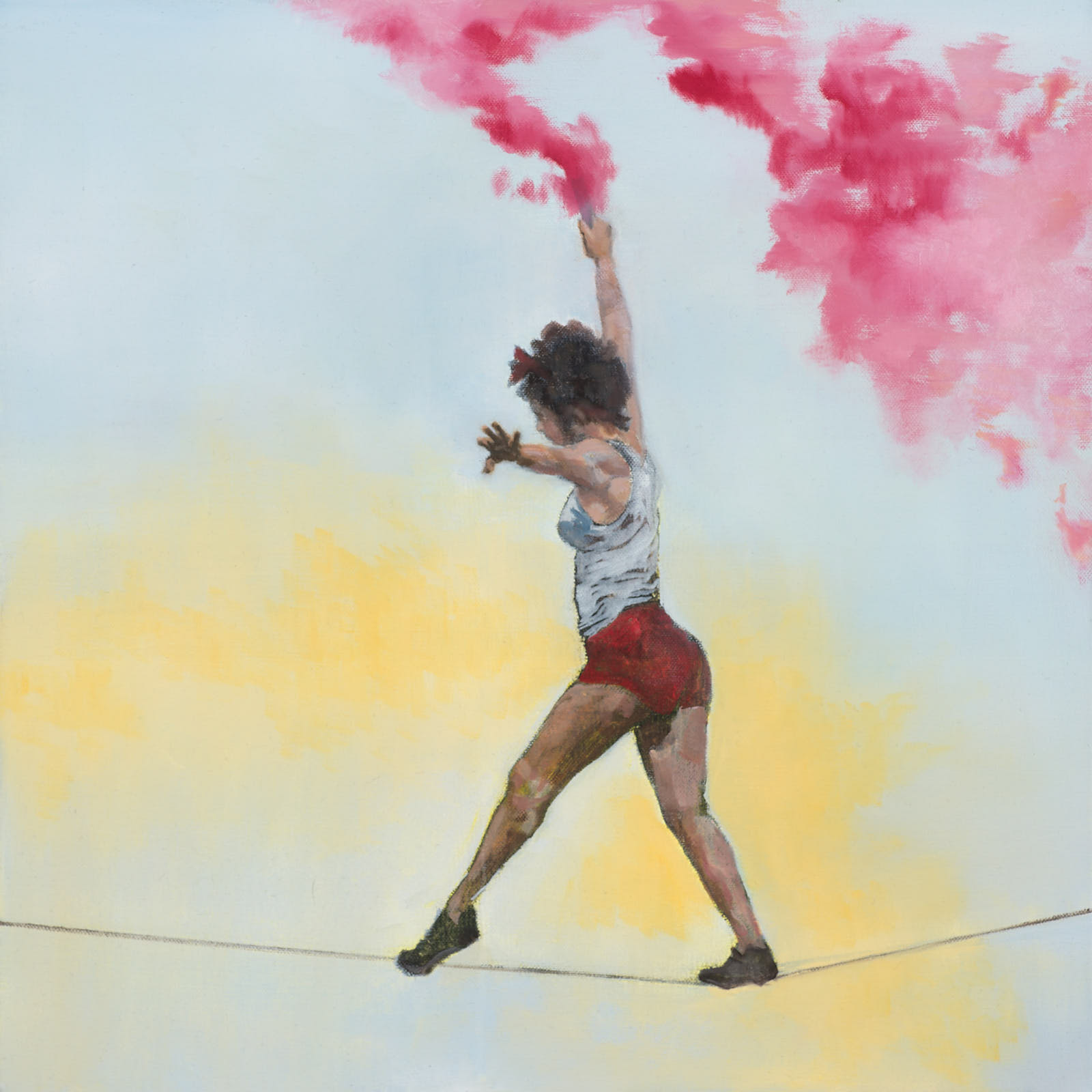 Emma Stroude Treading a Fine Line oil 50cm x 50cm 2019